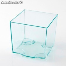 Recipientes cubo apilable con base para tapas & snacks 4,2x4,2x4,2 cm verde agua