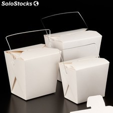 "Recipients micro-ondable avec anses ""fold-pack"" - 960 ml 8,5x7 cm blanc carton"