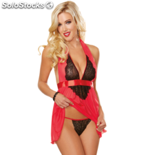 Red diamond babydoll rojo y negro bordado style 9732 talla unica