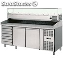 Refrigerated counter / pizza counter - tn - aisi 304 stainless steel - with prep