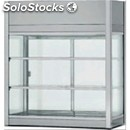 Refrigerated countertop snack display - stainless steel 18/10 - flat glass and