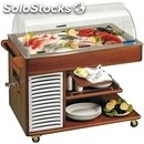 Refrigerated fresh fish or meat display trolley - mod. fishandmeal - wooden