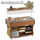 Refrigerated island buffet display - mod. freshm - wooden frame - temperature °c