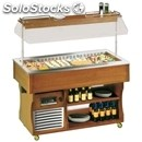 Refrigerated island buffet display ventilated cooling - mod. islandmvt - wooden