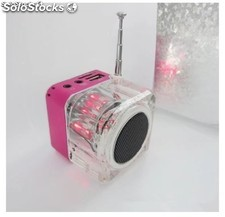 Regalo mini altavoz USB con luz colores altavoz de cristal transparente luminoso