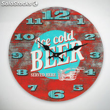 Reloj de Pared Ice Cold Beer, realizado en vidrio con diámetro de 34 cms, ideal