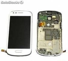 Repuesto pantalla lcd+touch+frame(marco) para smartphone samsung galaxy s3 mini
