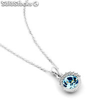 Rhodium-plated necklace mounted with Swarovski® Crystal and Cubic Zirconite.