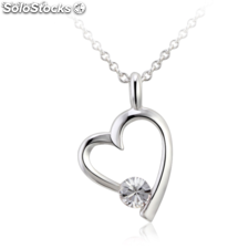 Rhodium-plated necklace with Cubic Zirconite.