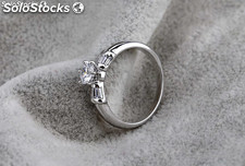 Rhodium plated ring made with Cubic Zircon.