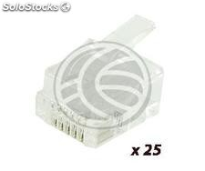 RJ12 phone jack 6P6C male to crimp package of 25 units (RH28)
