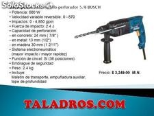 Rotomartillo portatil electrico 5/8 bosch, velocidad variable, reversible