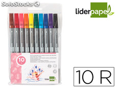 Rotulador liderpapel duo bolsa 10 colores