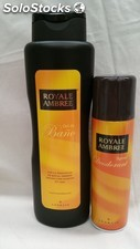 ROYAL AMBREE lote gel baño 750ml + desodorante spray