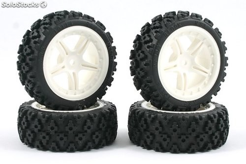 Ruedas rally blanco 1:10 12mm RC