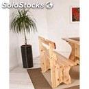 Rustic model-bench mod. 005p18-wooden frame-wood finishes in aniline leather