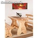 Rustic model-table mod. 005t18-wooden frame-wood finishes in aniline leather