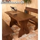 Rustic model-table mod. 020t12-wooden frame-wood finishes in aniline leather