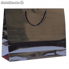 Sac boutique anses cordon 40+15x32 cm noir kraft