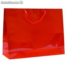 Sac boutique anses cordon 40+15x32 cm rouge kraft