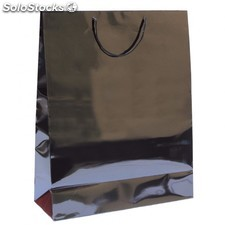 Sac boutique anses cordon 40+15x50 cm noir kraft