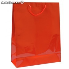 Sac boutique anses cordon 40+15x50 cm rouge kraft