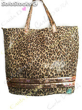 Sac main femme shopping cabas leopard, sac a main