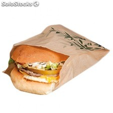 "Sachet burger ""feel green"" 41 g/ M2 12+7x18 cm naturel papier"