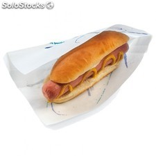 Sachet ouvert 2 cotes - hot dog. 35 g/M2 9+3x22 cm blanc parch.ingraissable