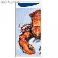 """Sachet pour couverts """"just in time""""-""""lobster"""" 9x19,5 cm bleu dry tissue"""
