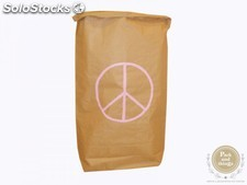 "Saco decorativo de almacenaje ""Living in sack"" · PEACE rosa pastel"