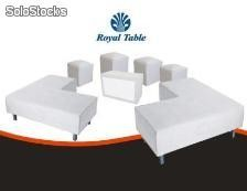Sala lounge: Paquete 2 sillones, 4 puff y cubo. Mobiliario Royal table