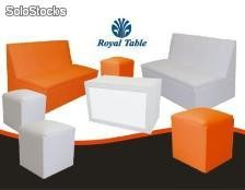 Salas Lounge: paquete 2 sillones, 4 puffs y 1 mesa: Royal table