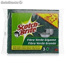 Scotch brite fibra verde gigante pack 3