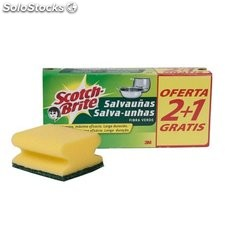 Scotch brite salva uñas fibra verde pack 3