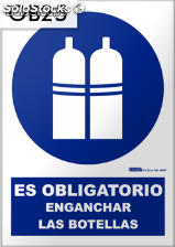 Señal obligatorio enganchar botellas