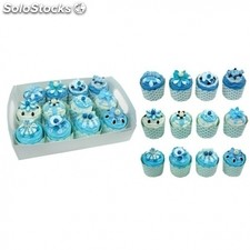Set 12 cajas cupcakes pastelito + display azul