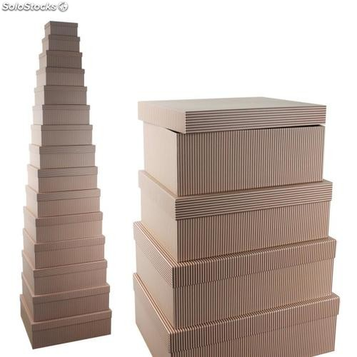 Set 15 caja Lines chocolate 57x45x19cm