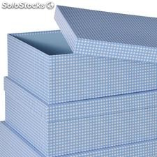 Set 15 caja rectangular Vichy Blue 56,60x44,90x20cm