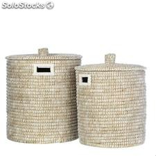 Set 2 cesto natural blanco junco 45x45x50cm