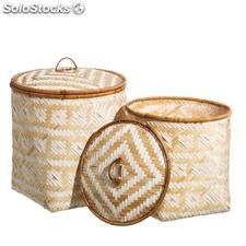 Set 2 cestos trenzado natural crema junco 40x40x40cm