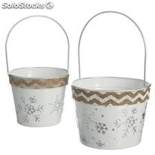 Set 2 cubos metal blanco 15x15x25cm