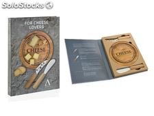 Set 2 cuchillos queso + tabla acacia redonda Andrea House