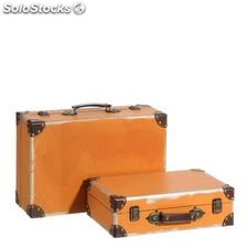 Set 2 maletas naranja dm decoración 42x29x16cm