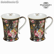 Set 2 tazas bloom black - Colección Kitchen's Deco by Bravissima Kitchen