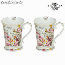 Set 2 tazas bloom white - colección kitchens deco by bravissima kitchen