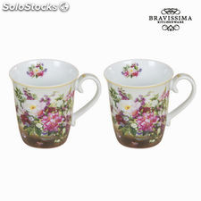 Set 2 tazas bouquet natural - Colección Kitchen's Deco by Bravissima Kitchen