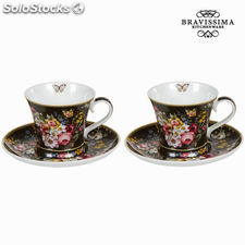 Set 2 tazas c/plato bloom blac - Colección Kitchen's Deco by Bravissima Kitchen