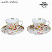 Set 2 tazas con plato bloom - Colección Kitchen's Deco by Bravissima Kitchen