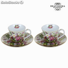 Set 2 tazas con plato bouquet - Colección Kitchen's Deco by Bravissima Kitchen